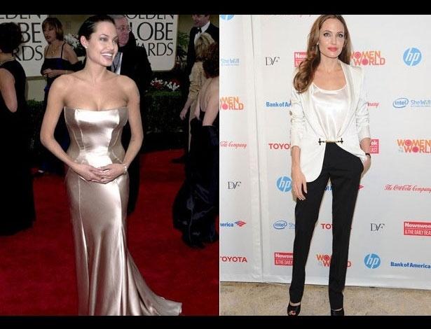 Angelina Jolie em 2001, aos 26 anos; e em 2012, aos 37 anos