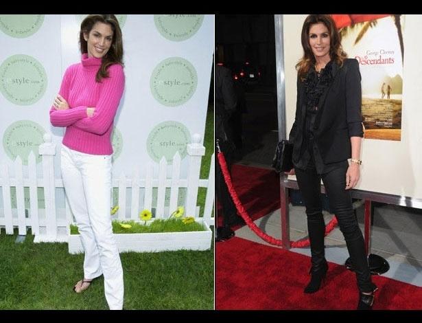 Cindy Crawford em 2000, aos 36 anos; e em 2011, aos 45 anos