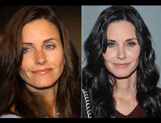 Courteney Cox em 2002, aos 38 anos; e em 2012, aos 48 anos