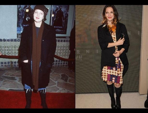 Drew Barrymore em 1999, aos 24 anos; e em 2012, aos 37 anos
