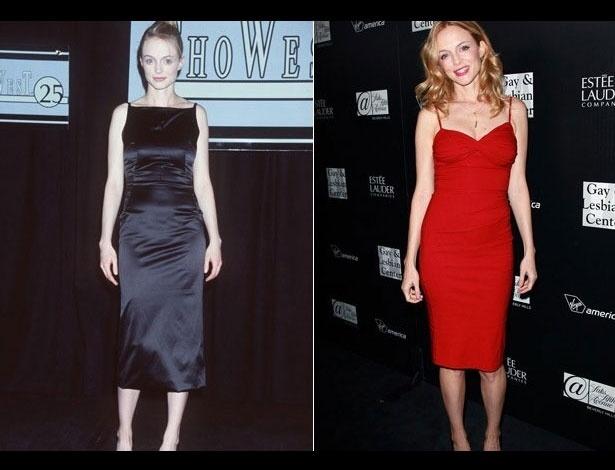 Heather Graham em 1999, aos 29 anos; e em 2012, aos 42 anos