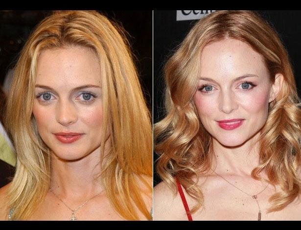 Heather Graham em 2001, aos 31 anos; e em 2012, aos 42 anos