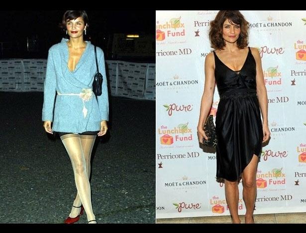 Helena Christensen em 2001, aos 33 anos; e em 2012, aos 44 anos
