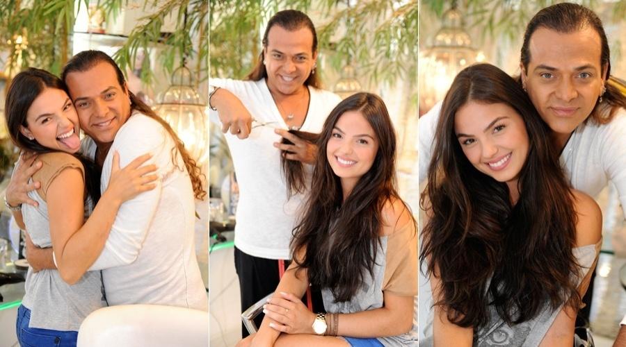 Isis Valverde brinca com cabeleireiro em visita a salão, no Rio (27/4/2012)
