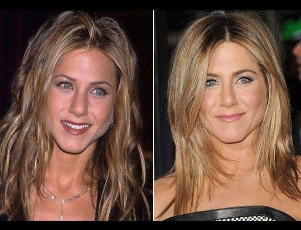 Jennifer Aniston em 1998, aos 29 anos; e em 2012, aos 43 anos
