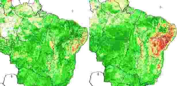 Mapas do Brasil mostram a situação da seca no Nordeste, as áreas em vermelho. A imagem à esquerda (abril de 2011) mostra 15% da região atingida, já a imagem à direita (abril de 2012) mostra 80% - Universidade Federal de Alagoas