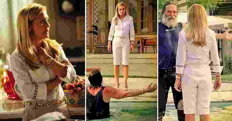 """O figurino de Carminha (Adriana Esteves) da novela """"Avenida Brasil"""" é basicamente composto por peças brancas, nudes ou de outras cores claras. A camisa é a principal no guarda-roupa da personagem e é combinada com calças retas e bermudas  - Divulgação/TV Globo"""