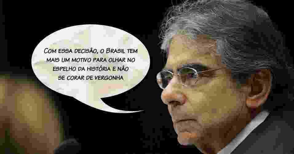 """Presidente do STF, Carlos Ayres Britto: """"Com essa decisão, o Brasil tem mais um motivo para olhar no espelho da história e não se corar de vergonha"""" - Fellipe Sampaio/SCO/STF"""