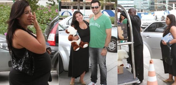 Acompanhada pelo marido Bruno Andrade, Priscila Pires chega a maternidade no Rio de Janeiro (28/4/12)