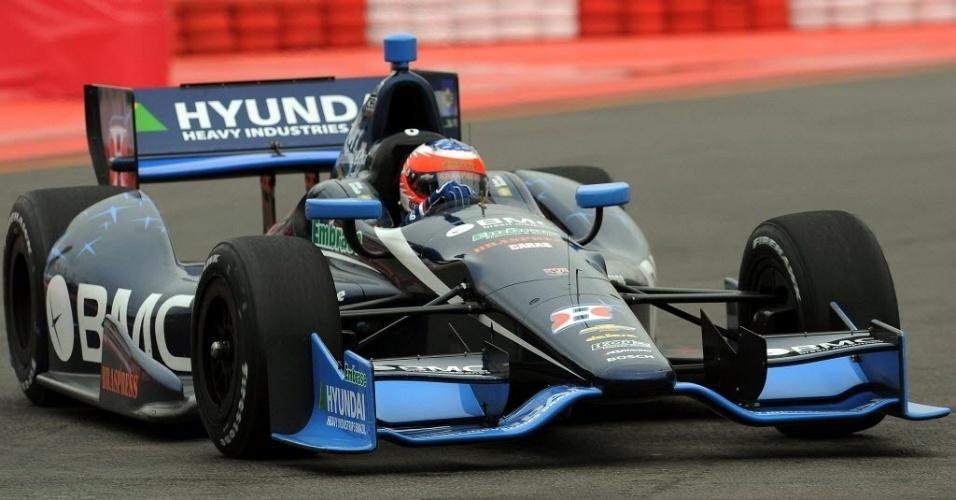 Rubens Barrichello ficou em 12º lugar no primeiro treino realizado no circuito do Anhembi