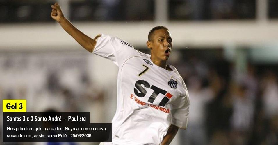 Nos primeiros gols marcados, Neymar comemorava socando o ar, assim como Pelé