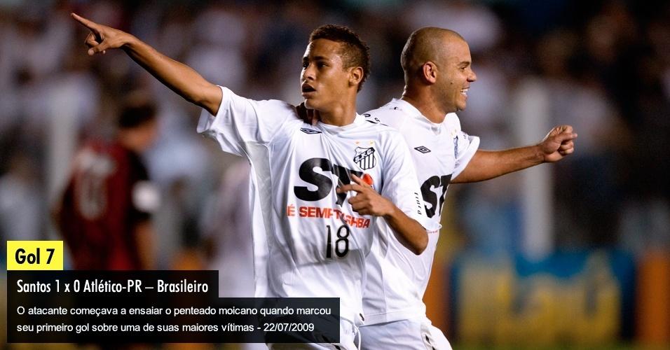 O atacante começava a ensaiar o penteado moicano quando marcou seu primeiro gol sobre uma de suas maiores vítimas - 22/07/2009