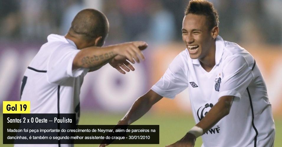 Madson foi peça importante do crescimento de Neymar, além de parceiros na dancinhas, é também o segundo melhor assistente do craque - 30/01/2010