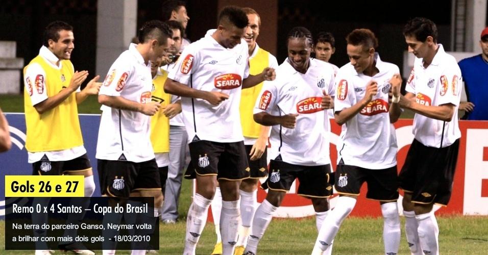 Na terra do parceiro Ganso, Neymar volta a brilhar com mais dois gols  - 18/03/2010