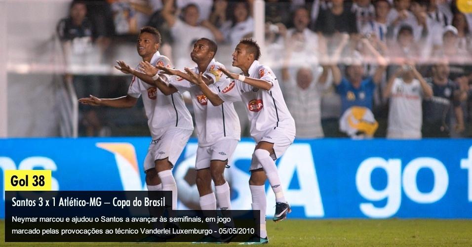 Neymar marcou e ajudou o Santos a avançar às semifinais, em jogo marcado pelas provocações ao técnico Vanderlei Luxemburgo - 05/05/2010