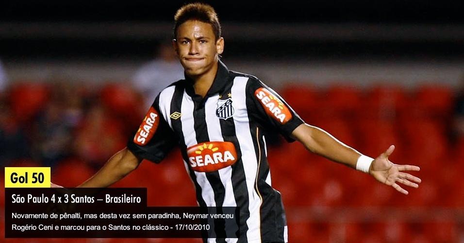 Novamente de pênalti, mas desta vez sem paradinha, Neymar venceu Rogério Ceni e marcou para o Santos no clássico - 17/10/2010