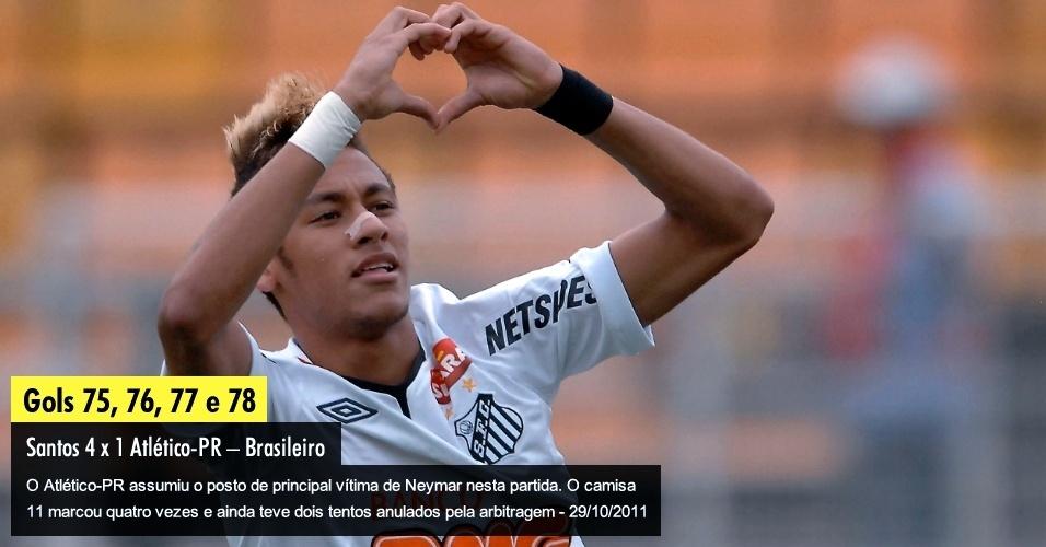 O Atlético-PR assumiu o posto de principal vítima de Neymar nesta partida. O camisa 11 marcou quatro vezes e ainda teve dois tentos anulados pela arbitragem - 29/10/2011