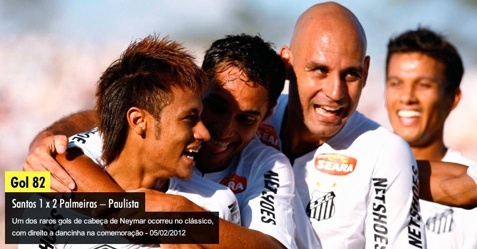 Um dos raros gols de cabeça de Neymar ocorreu no clássico, com direito a dancinha na comemoração -  05/02/2012