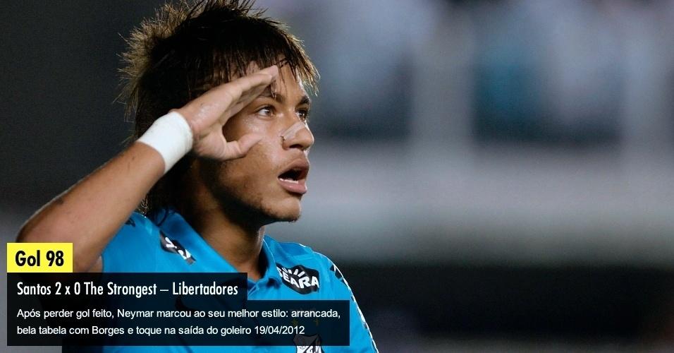 Após perder gol feito, Neymar marcou ao seu melhor estilo: arrancada, bela tabela com Borges e toque na saída do goleiro 19/04/2012