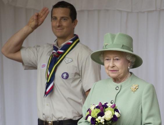 A rainha Elizabeth 2ª participa da Parada Nacional dos Escoteiros, no Castelo de Windsor, na região de Londres, Inglaterra. A rainha é matriarca dos escoteiros no Reino Unido
