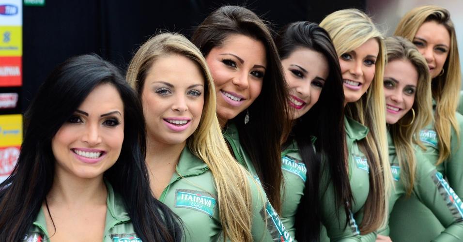 Candidatas a gata da Fórmula Indy compareceram ao Anhembi para a corrida