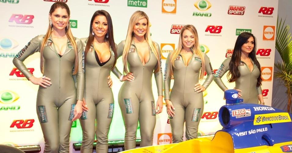 Candidatas a gata da Fórmula Indy foram ver a corrida no Anhembi