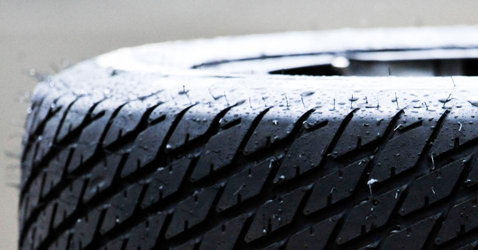 Pneu molhado mostra que o dia começou com chuva no circuito da F-Indy em SP