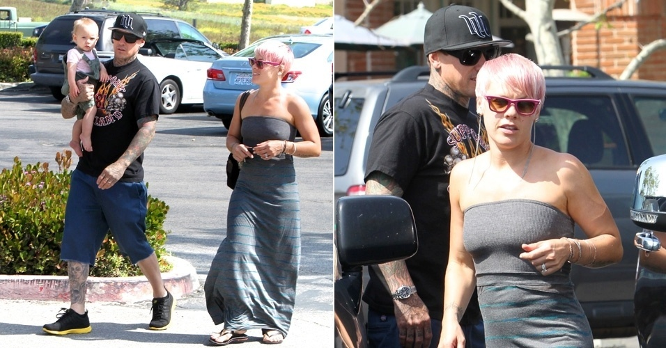 Cantora Pink volta a ter cabelo rosa (29/4/12)