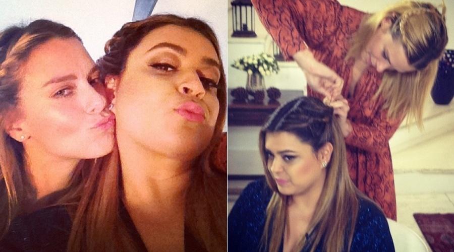 Carolina Dieckmann e Preta Gil fazem bico para foto (30/4/12)
