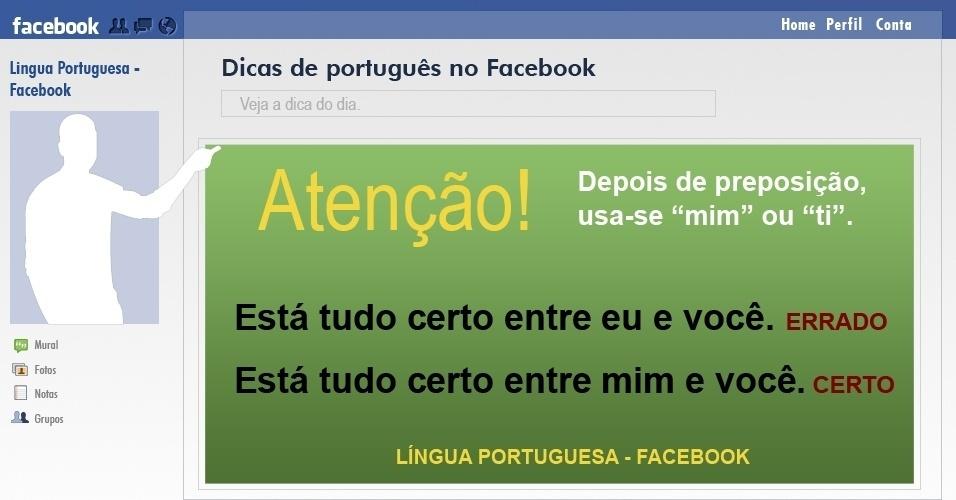 Mim e eu  - reprodução de dica de português compartilhada no Facebook