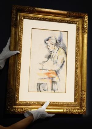 """Aquarela """"Jogador de Cartas"""", de Paul Cézanne, que foi a leilão na casa nova-iorquina Christie (26/4/12) - Don Emmert/AFP Photo"""