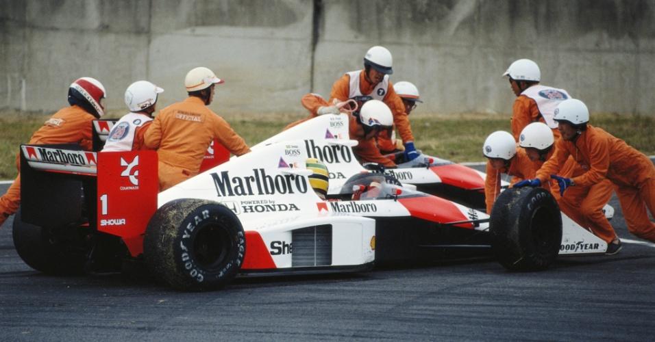 GP do Japão de 1989: Após batida com Prost, Senna teve de ir aos boxes para arrumar carro e precisou fazer corrida de recuperação para vencer, mas acabou desclassificado