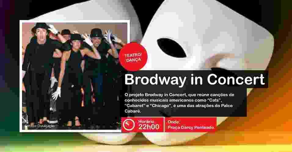 O projeto Brodway in Concert é uma das atrações do palco Cabaré, às 22h, na Praça Darcy Penteado  - Divulgação