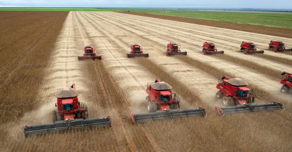 Colheitadeiras trabalham em campo de soja no Mato Grosso