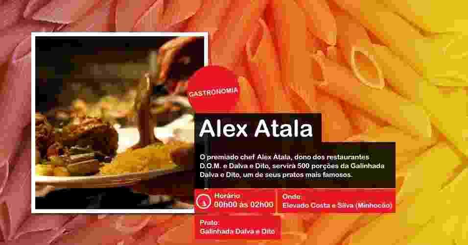 O chef Alex Atala servirá porções da Galinhada Dalva e Dito na Virada Cultural, das 00h00 às 02h00, no Minhocão - Divulgação