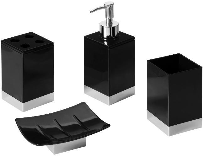 Composto por saboneteira, dispenser para sabonete líquido, suporte para escovas de dentes e porta algodão, o kit da Prat-k (www.prat-k.com.br)