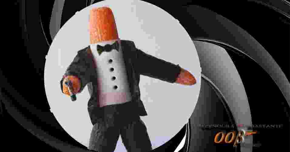 Muitas das imagens transformam, em tom bem humorado, alimentos em animais, personagens de cinema e de games. Acima, a 'Cenoura Bond', com cenourinhas, folha de papel manteiga para a camisa e nori para o terno, gravata e botões - Vanessa Dualib