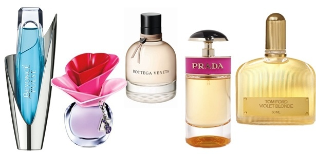 """Perfumes finalistas na categoria Women""""s Luxe no FiFi Awards 2012: Beyoncé Pulse, Someday by Justin Bieber, Bottega Veneta, Prada Candy e Tom Ford Violet Blonde - Divulgação"""