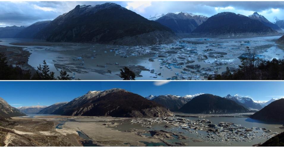 4.mai.2012 - Fotos mostram lago Cachet II em Aysén, no sul de Santiago, no Chile, antes e depois da seca que atinge a região. Pouco antes da meia-noite de 31 de março o lago, que antes tinha 200 milhões de litros de água, começou a secar pela segunda vez este ano, devido ao aumento das temperaturas