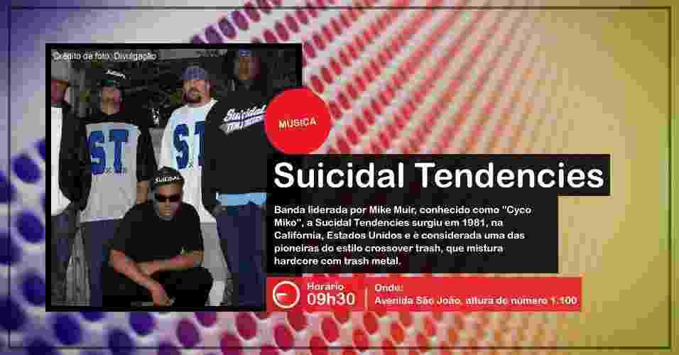 A banda Suicidal Tendencies faz apresentação na Virada Cultural, às 9h30, na Avenida São João, altura do número 1.100 - Divulgação