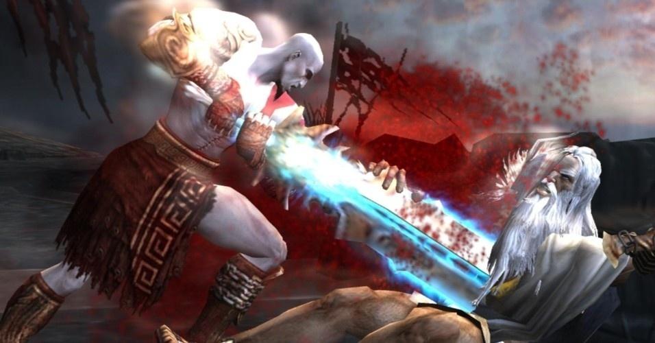 Com as Moiras derrotadas, Kratos tem a chance de mudar seu destino. Ele enfrenta Zeus e fere o deus supremo mortalmente. Quando o espartano dá o golpe de misericórdia, acaba matando Atena, que tentara defender o soberano do Olimpo. Antes de morrer, a deusa confidencia a Kratos que Zeus é seu pai. Mesmo ferido, o deus que é conhecido como Júpiter pelos romanos consegue fugir para o Olimpo
