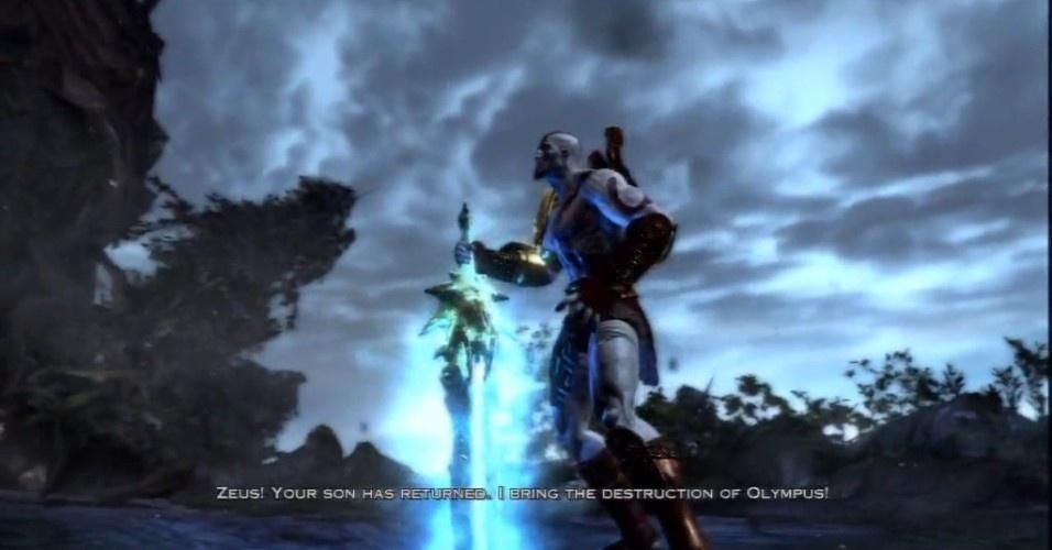 """Em """"God of War III"""" (PS3, 2010) começa a derradeira batalha de Kratos contra os deuses da mitologia grega"""