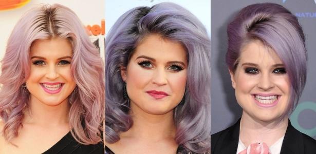 A atriz e cantora Kelly Osbourne exibe diversas formas de usar as madeixas coloridas - Montagem/Getty Images
