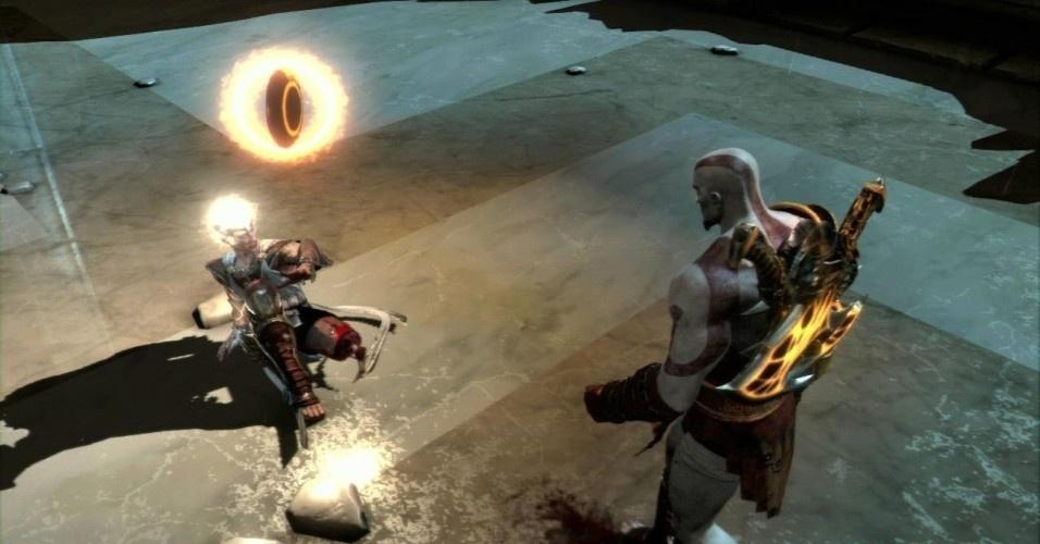 O próximo deus a ser riscado do mapa é Hermes (mercúrio para os romanos). Ele tem o dom da supervelocidade, mas, no fim, Kratos o pega de jeito e corta-lhe as pernas. Assim, o espartano também passa a correr rápido e até escalar paredes