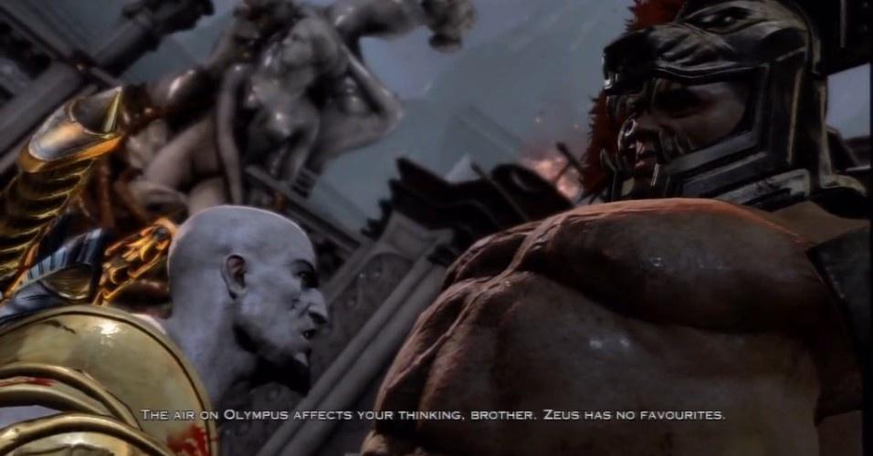 Outro herói vem desafiar Kratos: seu meio-irmão Hércules (aliás, o espartano tá cheio de irmãos por aí, pois Zeus fez a festa). Seu destino é o mesmo que os outros: ter uma morte brutal