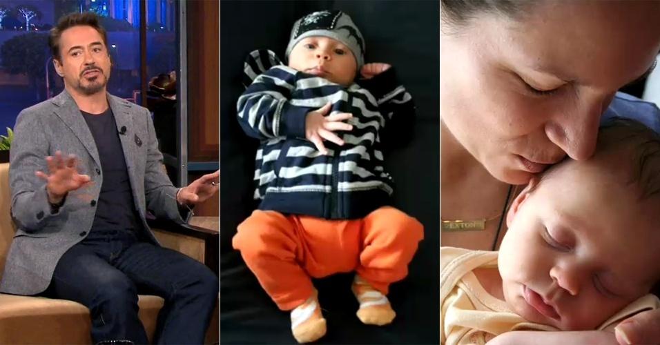 """Robert Downey Jr. mostra fotos do filho Exton Elias durante participação no """"The Tonigh Show with Jay Leno"""" (3/5/12)"""