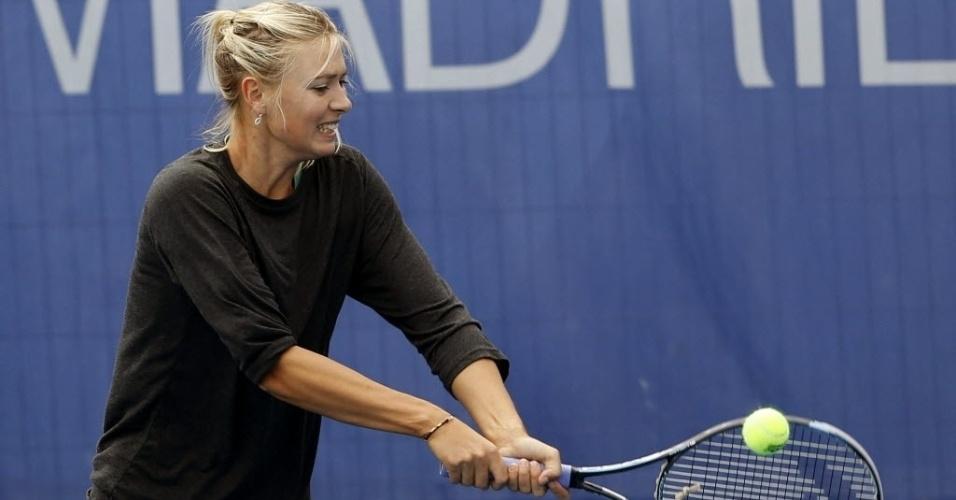 A bela tenista russa, Maria Sharapova treinou em Madri, neste sábado