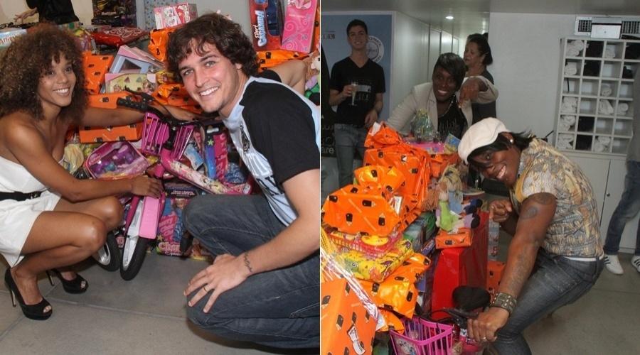Aparecida Petrowky e Felipe Dylon prestigiam evento de beleza em um shopping da zona sul do sul do Rio (7/5/12)