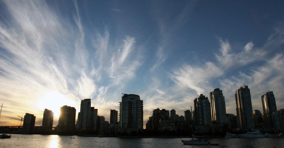 Vista do centro financeiro de Vancouver, a oeste do Canadá