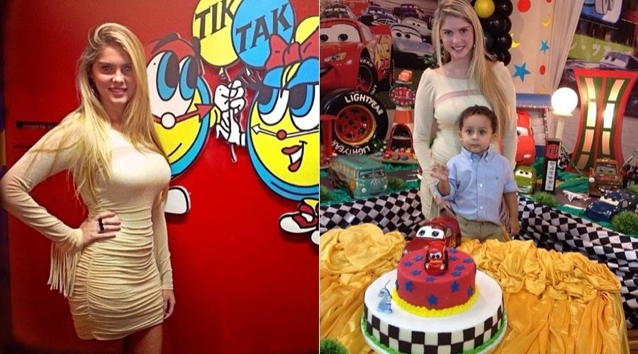 Bárbara Evans prestigia aniversário do sobrinho em uma casa de festas (7/5/12)